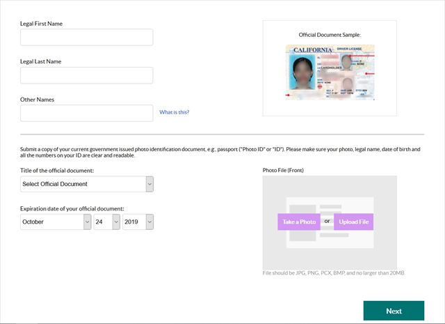 Submit the required legal identification