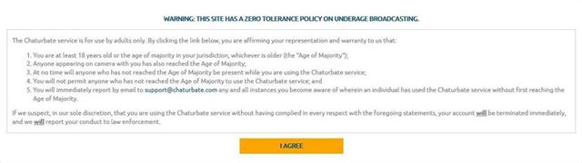 Chaturbate's zero tolerance policy