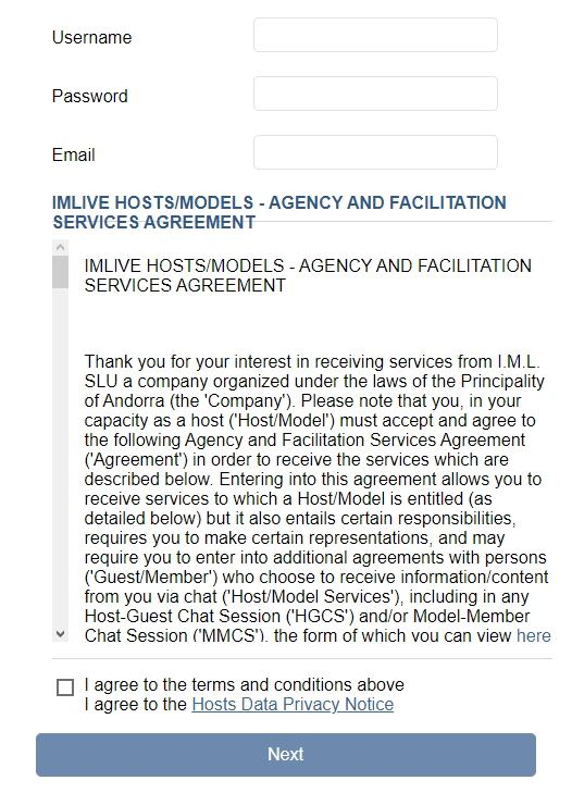 ImLive terms and conditions agreement section
