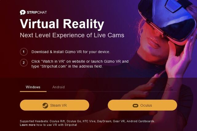 Stripchat's VR feature